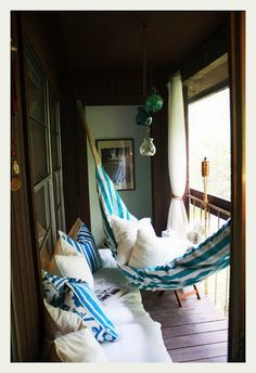 repose and calm. the only way to handle a small balcony/ enclosed porch
