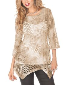 Take a look at this Beige Sheer Sidetail Top by Lily on #zulily today!