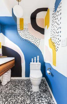 Bathroom Mural, Design Bathroom, Mural Wall Art, Painted Wall Murals, Wall Murals Bedroom, Wall Design, House Design, Bathroom Inspiration, Interior Decorating