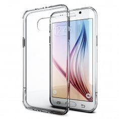 Galaxy S6 Edge Case, Enther® [Ultimate Cushion] Slim Scratch / Dust Proof Hybrid Transparent Clear Case with Shock Absorb Trim Bumper (Clear)