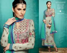 A straight cut ensemble in grey. A jacket style yoke with delicate and colourful floral embroidery. Chiffon dupatta in ?ferozi?.