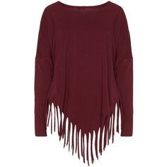 Boris Bordeaux-Red Plus Size Cotton jersey fringed hem top ($53) ❤ liked on Polyvore featuring tops, shirts, sweaters, long sleeves, plus size, red long sleeve shirt, long sleeve shirts, fringe tops, long shirts and plus size long tops