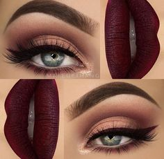 Nude brown smokey eye makeup with matte burgundy lips