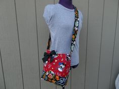 Red Minnie Mouse With Skulls Fiesta Crossbody Bag by OMGDesigns