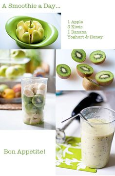 Health and Fitness on Share Sunday - A smoothie a day… apple, kiwi, banana, yogurt & honey… sign me up. I usually have a smoothie a - Kiwi Smoothie, Smoothie Drinks, Smoothie With Apple, Dinner Smoothie, Berry Smoothie Recipe, Smoothie Detox, Diet Drinks, Beverages, Yummy Drinks
