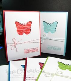 hand crafted butterfly notecard set ... negative space butterflies ... clean and simple ... great design for a quick card ... Stampin' Up!
