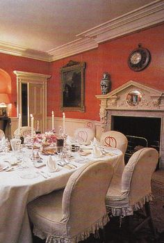The crimson dining room in The Cottage at Badminton decorated by Tom Parr. From Colefax & Fowler: The Best in English Interior Decoration.