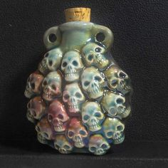 Raku Ceramic Bottle Bead - Skulls - RAKBOT 65