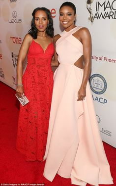 Twice as nice: Walking the carpet, Kerry made sure to stop and pose with fellow style stunner Gabrielle