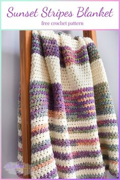 The Sunset Stripes Blanket is a beautifully textured blanket that features the Pique stitch. A great beginner crochet blanket! #crochetblanket #freecrochetblanketpatterns #crochetblanketpattern