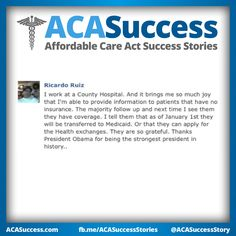 California hospital worker Ricardo takes joy in telling patients about their eligibility under #ACA ! Fight the negativity. #Obamacare #YourStory #GetCovered #GetTalking Join us, Share, Tell your friends. The time is NOW. http://facebook.com/ACASuccessStories http://twitter.com/ACASuccessStory