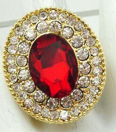 Elegant Statement Ring/Red/Rhinestone/Oval/Holiday/Christmas