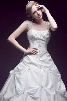 Embroidery Beading Detailed Ball Gown Floor Length Taffeta Wedding Dress With Straps Wedding Dresses With Straps, Cute Wedding Dress, Fall Wedding Dresses, Colored Wedding Dresses, Bridal Dresses, One Shoulder Wedding Dress, Wedding Gowns, Dream Wedding, Wedding Things