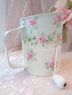 AQUA /WHITE ROSE SIFTER hand painted hp chic shabby vintage cottage planter art  #Bromwells