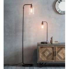 Create your dream look with the Newton Floor Lamp, a metal and glass lamp with exposed bulb. Pair with matching Table Lamp. Retro Floor Lamps, Industrial Floor Lamps, Retro Lamp, Black Floor Lamp, Industrial Metal, Industrial Design, Industrial Style, Floor Standing Lamps, Large Lamps