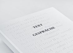 Text Gespräche print with blind emboss cover by Studio Hausherr.