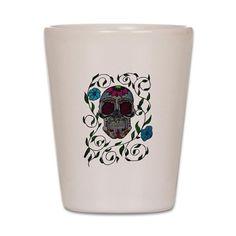 Sugar Skull Shot Glass on CafePress.com