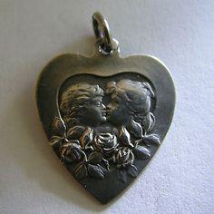 Wonderful Antique Art Nouveau German 800 Silver Lovers Kissing Heart Charm