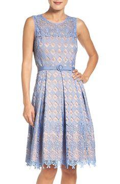 Eliza J Belted Lace Fit & Flare Dress