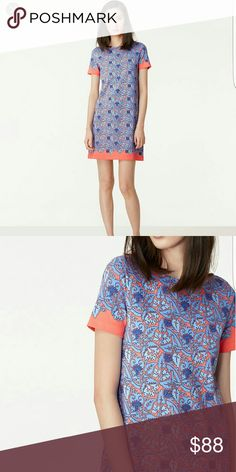 Tory Burch Blue Elisabeth Pima Cotton Shirt Dress Elisabeth Short-Sleeve Printed Sheath Dress, Sea Coral Artemis. Excellent like new condition.  Size small.  Bateau neckline. Short sleeves. Solid trim at sleeves and hem. Sheath silhouette. Straight hem. Pullover style. Cotton. Imported. No lining.  Blue and coral print.  Real photos to follow Tory Burch Dresses