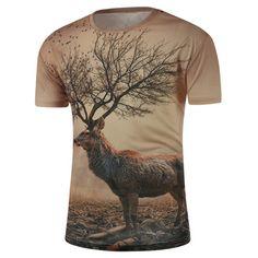 $13.52 Round Neck 3D Abstract Deer Print Short Sleeve T-Shirt