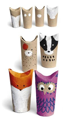 Super easy, super cute Toilet Paper Roll Characters ~ 10 Crafty Cardboard Ideas | Tinyme Blog
