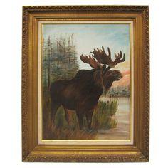 Moose Oil on Board Painting