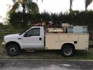 2002 #FORD #F450 $11,000.00 US 7.3 #POWER #STROKE #DIESEL, 2WD, UTILITY #BODY DUALLY, A/C, PS, AIR HOSE REEL, HAND 20 GL WATER WASH TANK WITH BIB, 3,000 LB, AUTO #CRANE, REAR JACK SUPPORT, #HEAVY #DUTY REAR BUMPER STORAGE WITH HEAVY DUTY VIA, ADDITIONAL TOP BOX STORAGE UNITS ON BOTH SIDES, #OIL #CONTAINER STORAGE BIN ON TOP OF #SERVICE BED, 1 LARGE RED CRAFTSMANS STORAGE CHEST (DRIVER'S SIDE), AMBER/WHITE CAUTION #TRAFFIC #LIGHTS ON THE #ROOF WITH CONTROL BOX IN CAB, #TRAILER RECEIVER W…