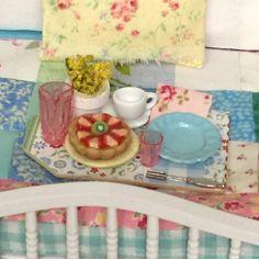 Breakfast Tray with Fruit Tart-1:12 scale by RibbonwoodCottage