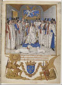 Louis XI préside le chapitre de Saint-Michel, dans les Statuts de l'ordre de Saint-Michel (enluminure de Jean Fouquet, 1470, Paris Bnf)-Enfance du roi: il commença à l'âge de 6 ans à apprendre le latin, l'histoire et les mathématiques sous les directives de Jean Gerson, ancien chancelier de l'université de Paris et de Jean Majoris, licencié en droit et théologien qui fut un bon précepteur pour le futur souverain. Le dauphin, puis le roi, maîtrisait l'art de convaincre et d'ordonner