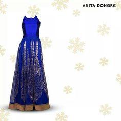 Anita Dongre. Blue floor length anarkali