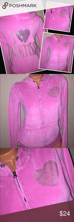 "VS PINK Sequin Velour hoodie jacket SMALL Brand: Victoria's Secret VS PINK  VS tag lists this as a Sz: Small- slightly loose Please reference to your measurements, for a good fit.  Underarm to underarm: 17"" Length back of neck to hem: 21""  ✅Condition:  Pre loved so it will show wear--piling / fade is present from washing -cracking on Graphics Smoke/Pet free Bx 3 ⚠️no holds, no Trades ⚠️I don't negotiate in comments ⚠️please use the offer button. PINK Victoria's Secret Sweaters Crew & Scoop…"