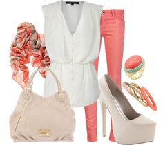 """""""Coral Skinny Jeans"""" by lklein23 on Polyvore"""