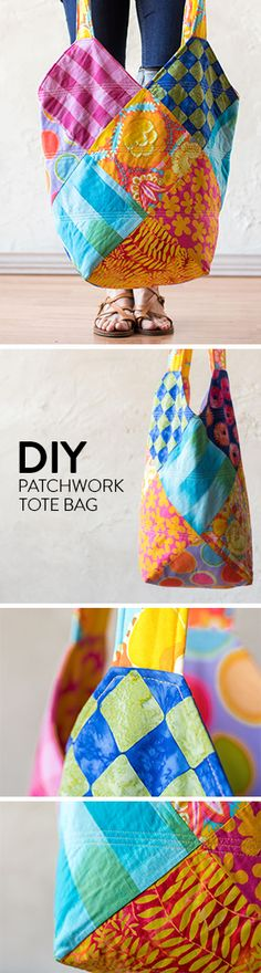 An everyday patchwork tote bag with a variety of exotic, handmade designs.