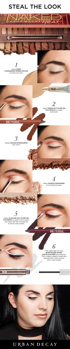 Turn up the heat with this graphic eye look using the new Urban Decay Naked Heat Palette! Makeup Tutorials, Makeup Tips, Beauty Makeup, Hair Makeup, Eyeshadow Makeup, Makeup Ideas, Maquillage Urban Decay, Urban Decay Makeup, Palette Urban Decay