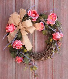 Spring Wreath Rustic Front Door Wreath Grapevine by HilltopRustics