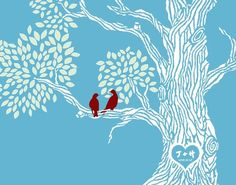 Custom Tree Print -- Personalized with Your Initials and Date -- Heart