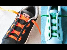 YouTube Shoelace Tying, Shoe Lacing Techniques, Ways To Lace Shoes, Creative Shoes, Tie Shoelaces, Lace Patterns, Cool Designs, Adidas Sneakers, Hacks