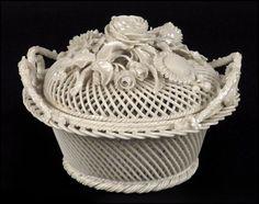 Belleek Round Porcelain Basket with Lid : Lot 133-2044 #porcelain #belleek #basket