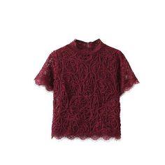 Lace crop top vintage o-neck blouse