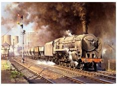 Heavy FreightHeavy Freight - Heavy FreightHeavy Freight - Heavy Freight by Philip Hawkins Diesel Locomotive, Steam Locomotive, Steam Art, Trains, Nostalgic Art, Railroad Pictures, Steam Railway, Train Art, Steam Engine