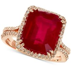 Rosa by Effy Emerald-Cut Ruby (7-5/8 ct. t.w.) and Diamond (1/2 ct. ($2,309) ❤ liked on Polyvore featuring jewelry, rings, accessories, red, jewelry ring, diamond rings, round diamond engagement rings, diamond cocktail rings, statement rings and ruby diamond ring