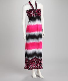 Take a look at this Pink & Black Tie-Dye Leopard Halter Maxi Dress by Just Love it!! I'd wear a shrug with it but it is Super pretty and Oh my!! Only  $17.99 on sale!! It's regular price is $54.00!!!! I Love it!!!!!