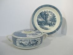 Casserole Pie Plate Currier Ives Blue Royal China Snowy Morning Horse Set of 2 #RoyalChina
