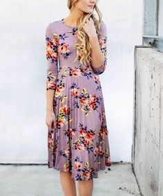 Color Story Purple Floral Pleated Midi Dress | zulily