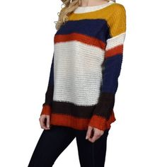 Multicolor striped sweater Very beautiful goes with almost everything . 100%Acrylic . Also available in another color and sizes . Sweaters Crew & Scoop Necks