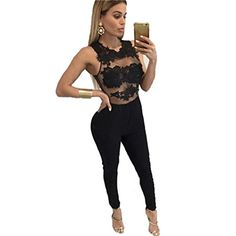 4690403792 Women Sexy 2 Pieces Bodycon Evening Jumpsuits Stretch Party Rompers  Bodysuit S US 0 Black_1 *