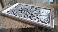Picture frame reimaged as a sweet serving tray.  I think this would be perfect to sit on my bedside table.