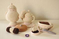 ༺༺༺♥Elles♥Heart♥Loves♥༺༺༺ ........♥Crochet Amigurumi♥........ #Amigurumi #Patterns #Crochet #Softies #Childrens #Toys #Handmade #Teddy #Doll #Tutorial #Patterns #Collectable~ ♥Creations by Doorns Crochet Tea Set