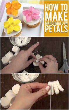 How to Top Your Cupcakes with Marshmallow Flowers! Heres the easy way to make marshmallow flowers Cake Decorating Tips, Cookie Decorating, Cupcake Recipes, Cupcake Cakes, Cupcake Toppers, Marshmallow Flowers, Marshmallow Cupcakes, Toasted Marshmallow, How To Make Marshmallows